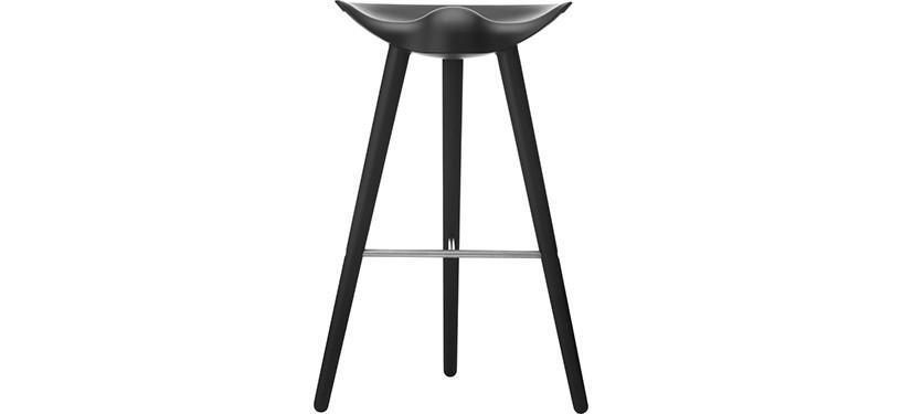 By Lassen ML42 Barstol · Høj · Bøg sortbejdset · Rustfrit stål