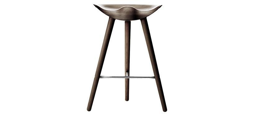 By Lassen ML42 Barstol · Lav · Eg brunolieret · Rustfrit stål