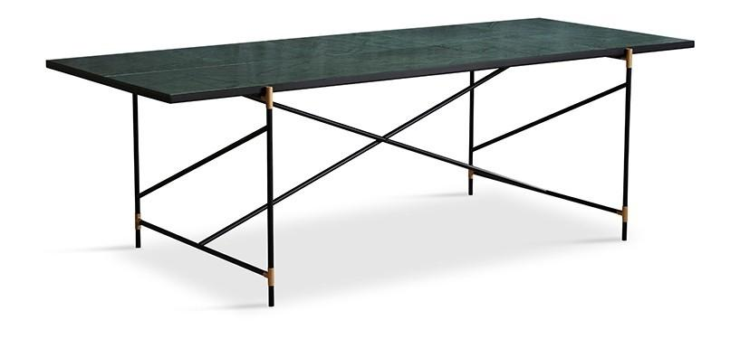 Handvärk Dining Table 230 · Marmor grøn · Sort/messing