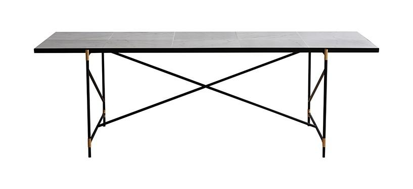 Handvärk Dining Table 230 · Marmor hvid · Sort/messing