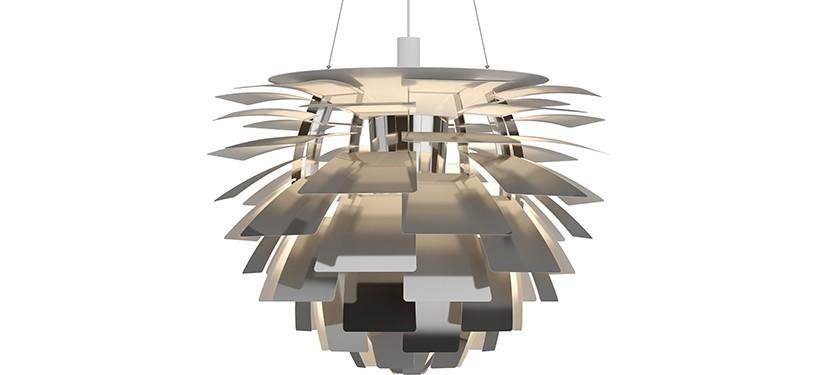 Louis Poulsen PH Kogle (Artichoke) · Rustfrit stål poleret · Ø 84 cm.