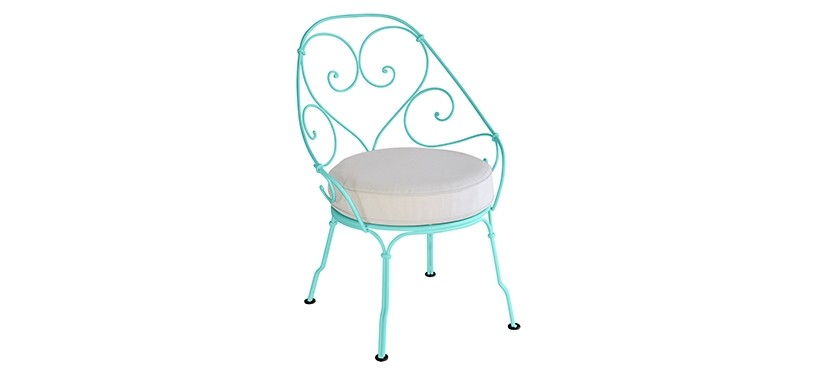 Fermob 1900 Cabriolet Armchair · Lagoon Blue/Off-white