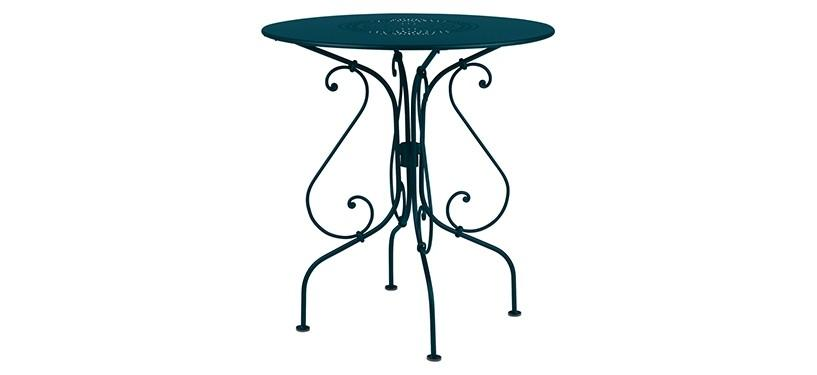 Fermob 1900 Pedestal Table · Acapulco Blue