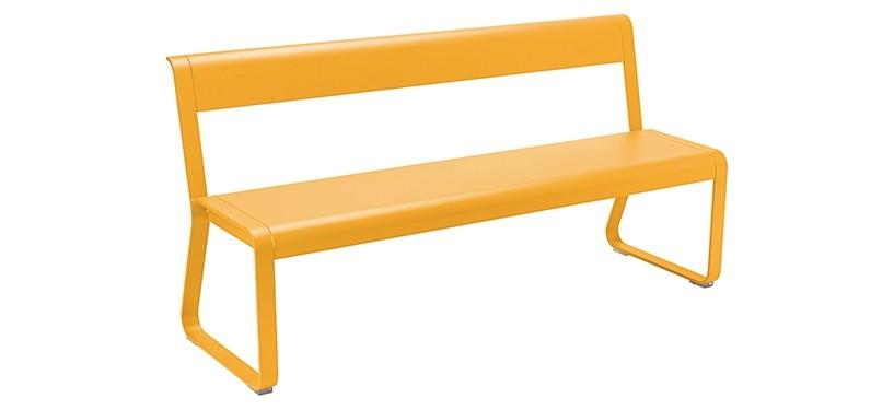 Fermob Bellevie Bench with backrest · Honey
