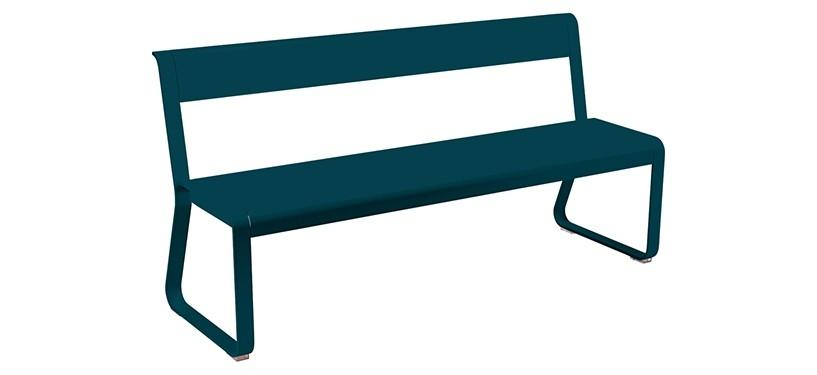 Fermob Bellevie Bench with backrest · Acapulco Blue