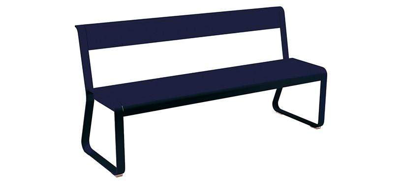 Fermob Bellevie Bench with backrest · Deep Blue