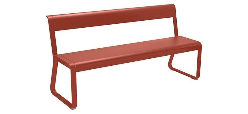 Fermob Bellevie Bench with backrest · Red Ochre
