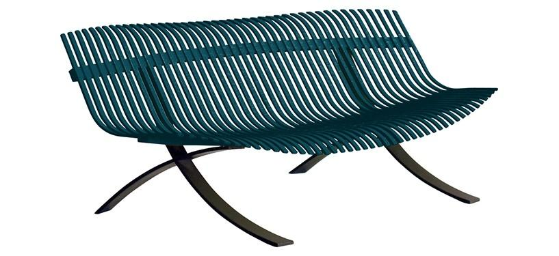 Fermob Charivari Bench · Liquorice/Acapulco Blue