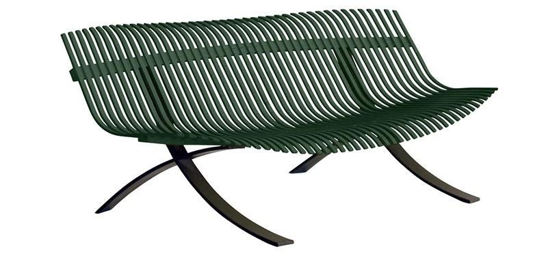 Fermob Charivari Bench · Liquorice/Cedar Green
