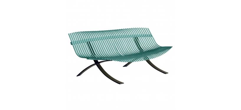 Fermob Charivari Bench · Liquorice/Lagoon Blue
