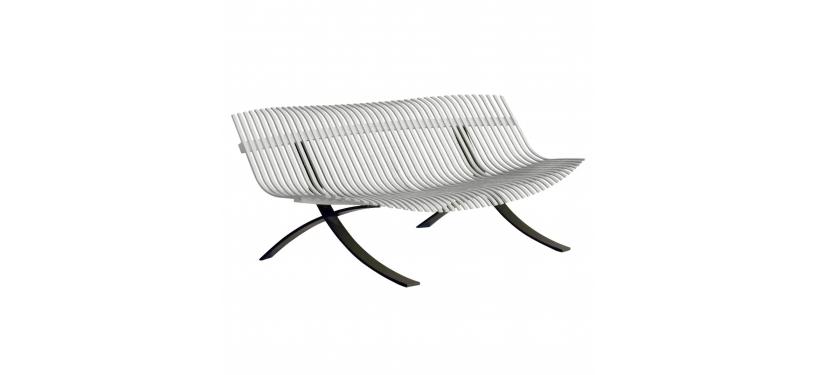 Fermob Charivari Bench · Liquorice/Steel Grey
