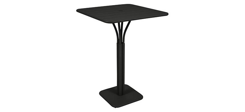 Fermob Luxembourg High Square Table · Liquorice