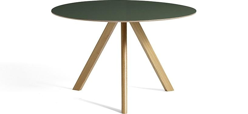 HAY Copenhague Table CPH20 · Ø120 x H74 · Eg klar lak · Linoleum