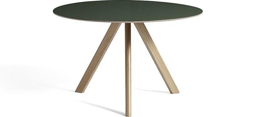 HAY Copenhague Table CPH20 · Ø120 x H74 · Eg sæbebehandlet · Linoleum