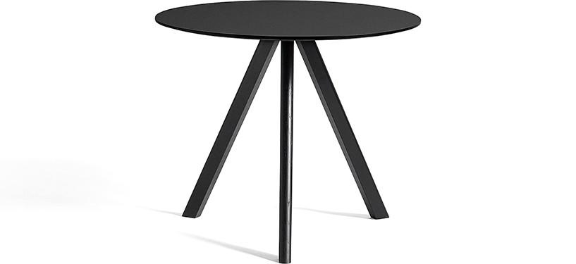 HAY Copenhague Table CPH20 · Ø90 x H74 · Eg sortbejdset · Linoleum