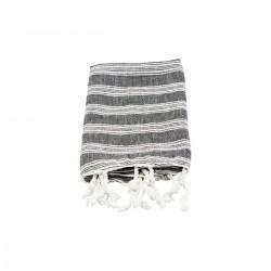Meraki Hammam håndklæde, Sort m. hvide striper