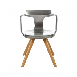 Tolix T14 Chair Wooden Legs Varnished