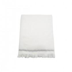 Meraki Håndklæde, 100x180 cm, Hvid med grå striber