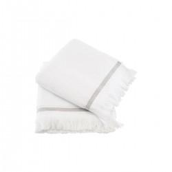 Meraki Håndklæde, 50x100 cm, Hvid med grå striber