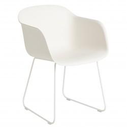 Muuto Fiber Arm Chair Sled · Natural Hvid/Hvid