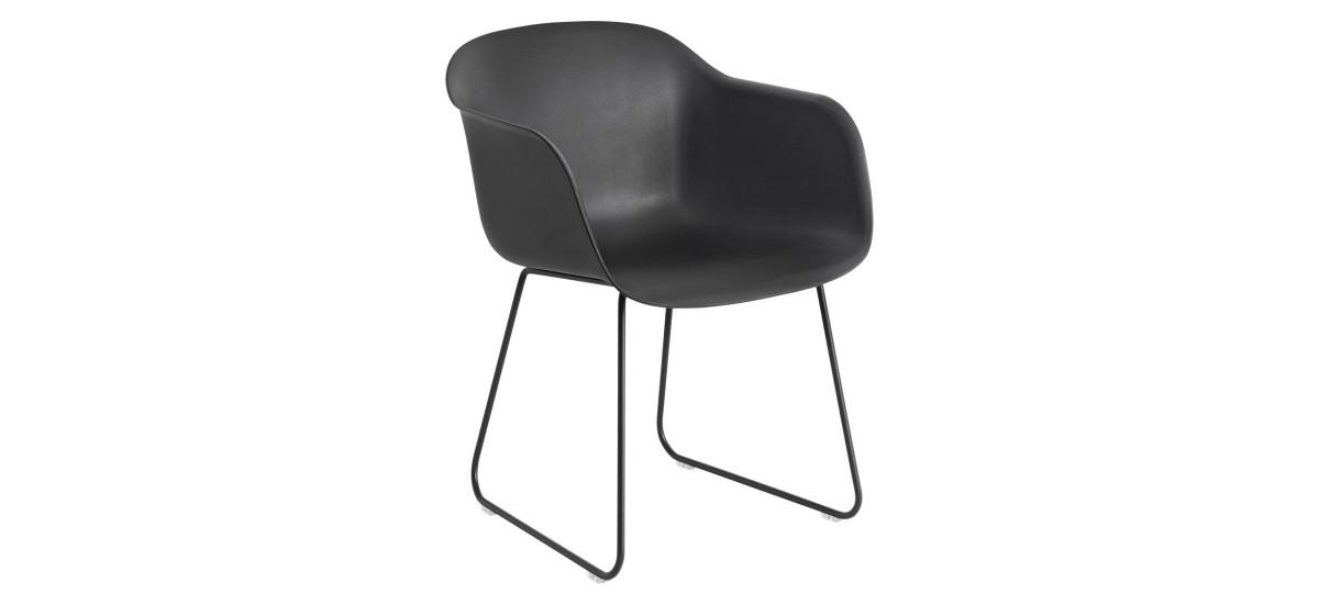 Muuto Fiber Arm Chair Sled · Sort/Sort