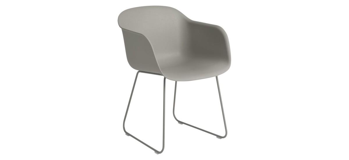Muuto Fiber Arm Chair Sled · Grå/Grå