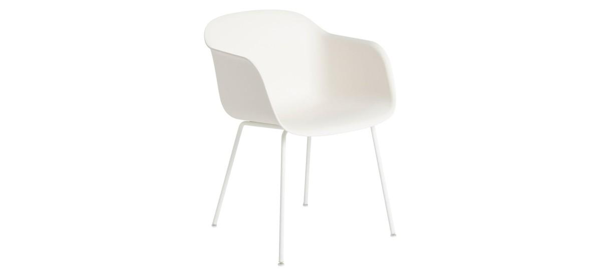 Muuto Fiber Arm Chair Tube · Natural Hvid/Hvid