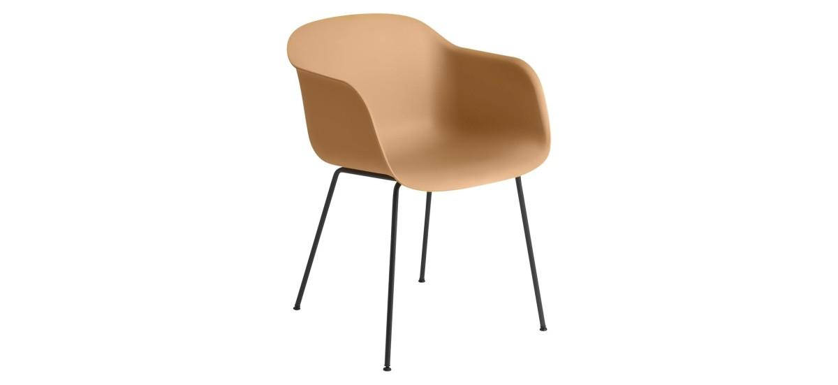 Muuto Fiber Arm Chair Tube · Ochre/Sort