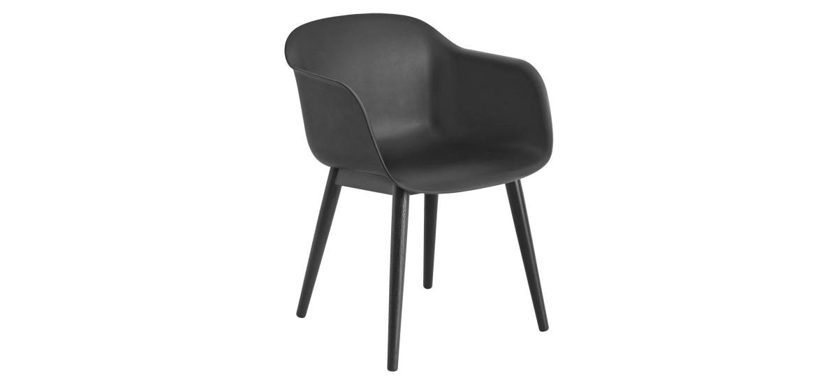 Muuto Fiber Arm Chair Wood · Sort/Sort