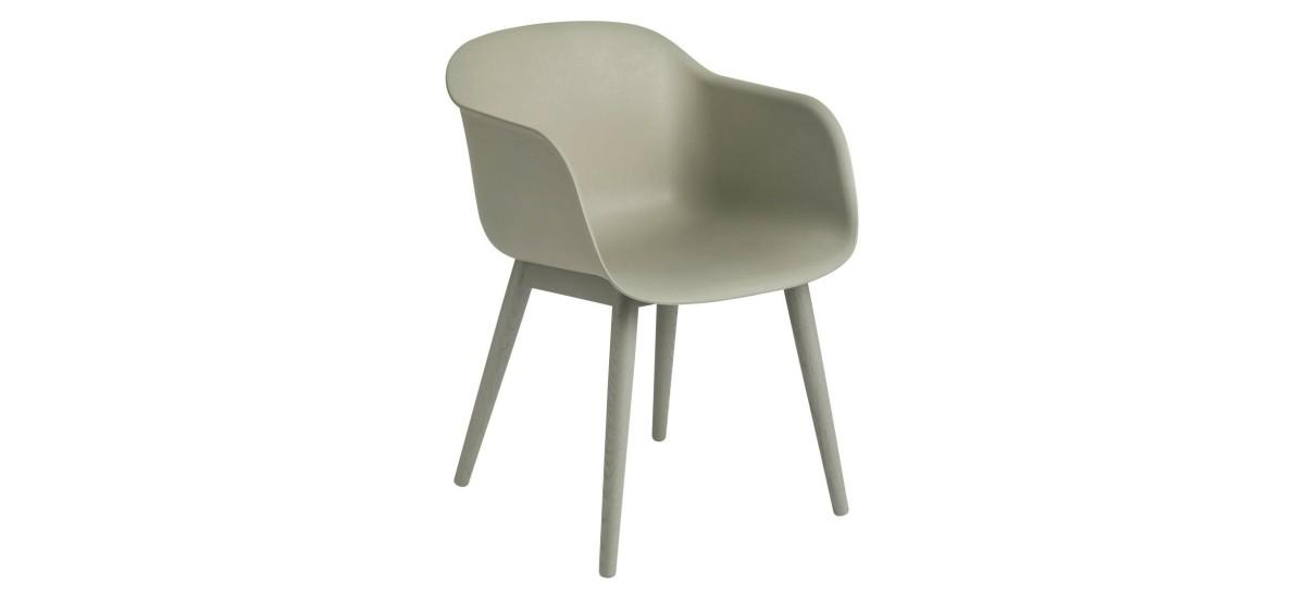 Muuto Fiber Arm Chair Wood · Dusty Green/Dusty Green