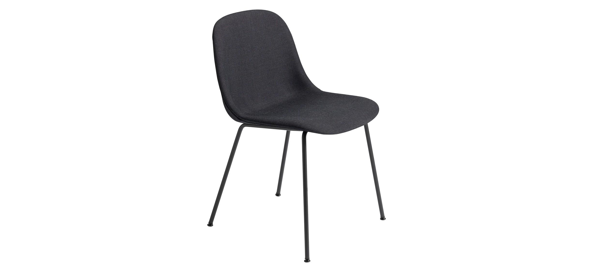 Muuto Fiber Side Chair Tube Fuldpolstret · Remix 183 · Sort