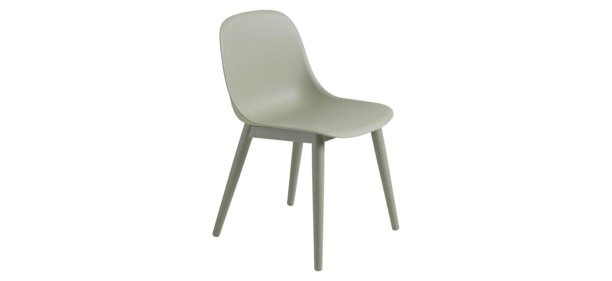 Muuto Fiber Side Chair Wood · Dusty Green/Dusty Green